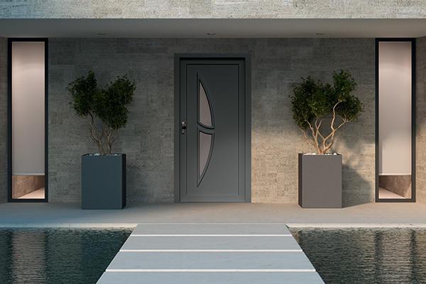 Modèle de porte d'entrée sécurisée pour votre habitat. MRM entreprise spécialisée dans la pose de menuiserie intérieure et extérieure.